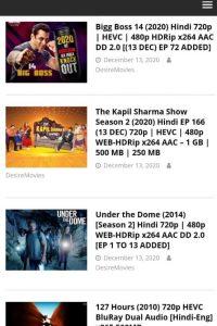 DesireMovies Latest Bollywood, Hollywood Hindi Dubbed Movies Free Download 2021