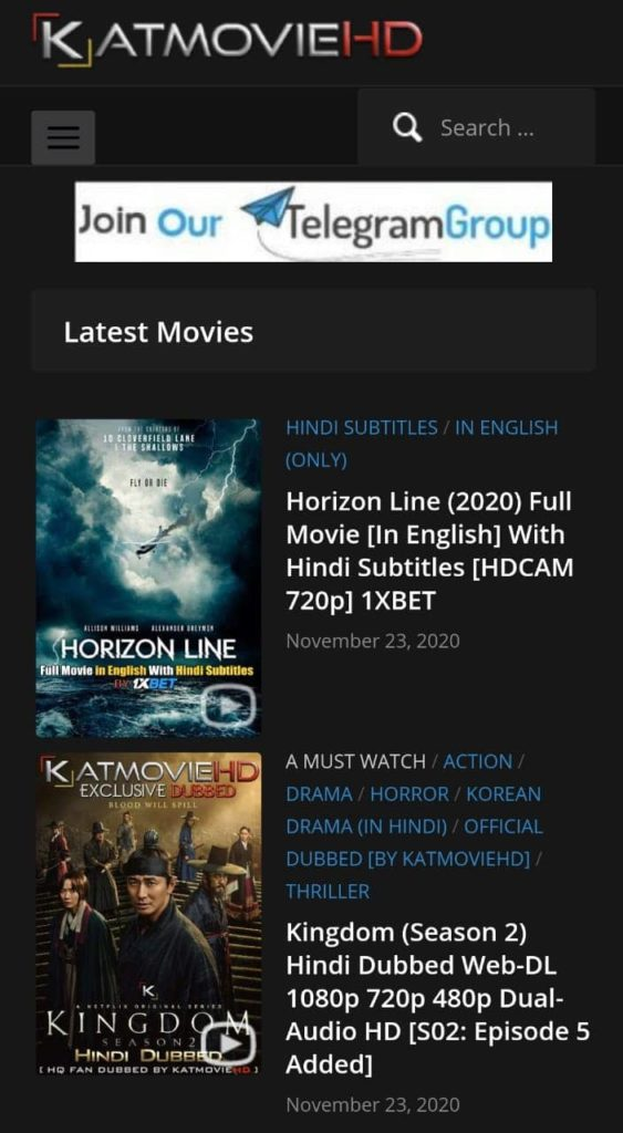 KatmovieHD Download Latest Bollywood, Hollywood Dubbed Movies 2021 & TV Shows For Free